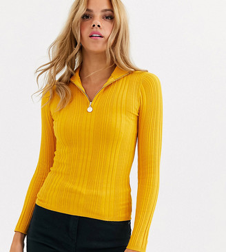 Miss Selfridge lightweight ring pull jumper in yellow