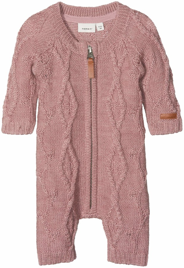 Name It Baby Girls' Nbfwrilla Wool Ls Knit Suit Noos Romper