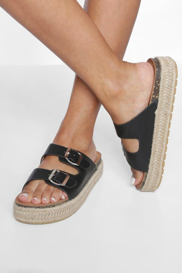 Thumbnail for your product : boohoo Double Buckle Chunky Espadrille Flatforms