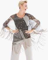 Chico's Ikat Frame Poncho with Fringe