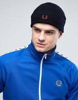 Fred Perry Merino Wool Logo Beanie in Navy