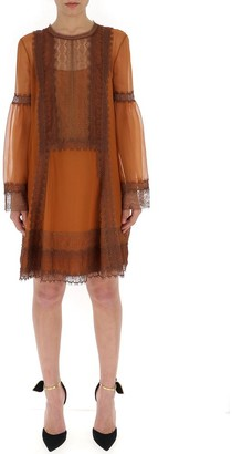 Alberta Ferretti Lace Trim Shift Dress