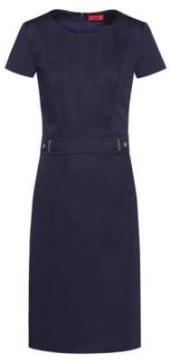 HUGO Stretch-cotton shift dress with waistband hardware