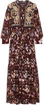 Biyan - Iramaya Lace-paneled Embellished Metallic Fil Coupé Voile Gown - Burgundy