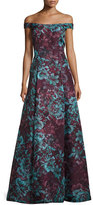 Aidan Mattox Floral Off-the-Shoulder Ball Gown, Burgundy