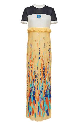 Prada Paneled Embroidered Chiffon Dress