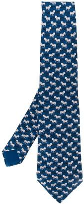 Hermes 2000s Pre-Owned Zebra Print Tie