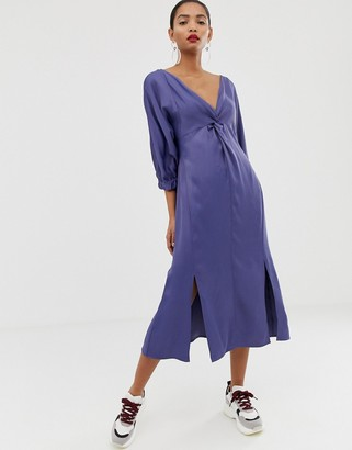 ASOS twist front plain midi dress
