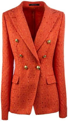 Tagliatore Orange Jalicya Tweed Blazer