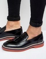 Asos Loafers In Black Leather With Wedge Sole