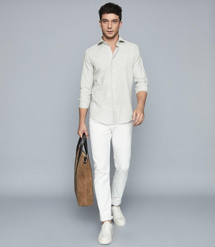 Reiss Riley - Slim Fit Melange Shirt in Soft Grey