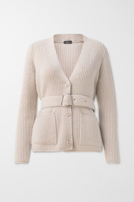 Akris Belted Ribbed Cashmere Cardigan - Beige