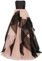 Reem Acra - Strapless Layered Silk-faille And Tulle Gown - Antique rose