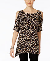 Cable & Gauge Animal-Print Cold-Shoulder Top