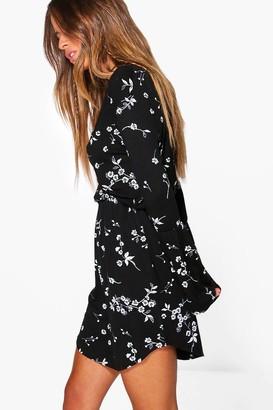 boohoo Petite Printed Flute Sleeve Wrap Dress