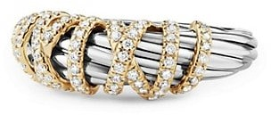 David Yurman Helena Ring with Diamonds and 18K Gold