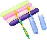 ASTRQLE 6Pcs Portable Candy Colors Plastic Toothbrush Case Holder for Daily and Travel Use Toothbrush Protect Box Cover Pocket Storage Container for Camping