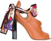 Paula Cademartori silk scarf sandals - women - Silk/Calf Leather/Leather - 38