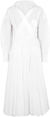 Valentino White pleated cotton-blend wrap dress