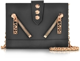 Kenzo Mat Black Gommato Leather Kalifornia Wallet on Chain Shoulder Bag