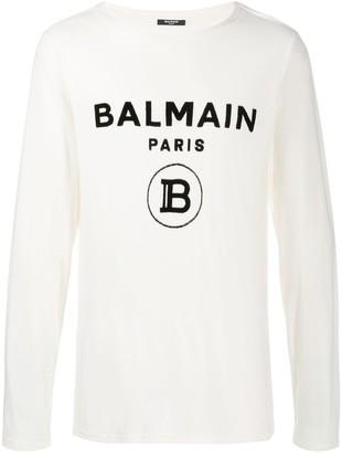 Balmain logo print long-sleeve T-shirt