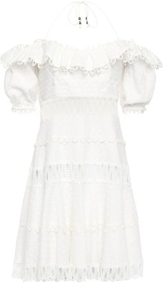 Zimmermann Cutout Floral-print Linen And Cotton-blend Halterneck Mini Dress