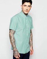 Lindbergh Oxford Shirt in Green Short Sleeves Slim Fit