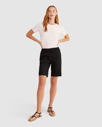 Sportscraft Women's Black Shorts - Rosa Linen Blend Shorts - Size One Size, 8 at The Iconic