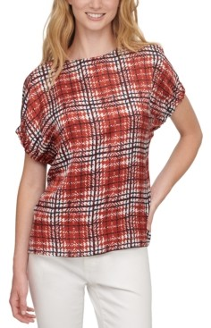 DKNY Printed-Front Short-Sleeve Top