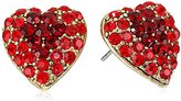 Yochi Red Stone Burst Heart Earrings