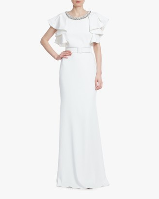 Badgley Mischka Light Ivory Ruffle-Sleeve Gown