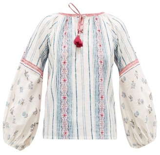 D'Ascoli Amagansett Striped And Floral-print Cotton Top - Blue Print