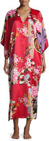 Natori Mikado Floral-Print Lounge Caftan, Black/Russian Red, Plus Size