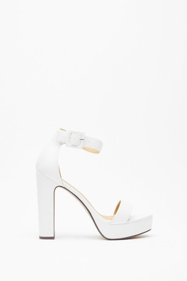 Nasty Gal Womens Higher Ground Faux Leather Platform Heels - white - 5
