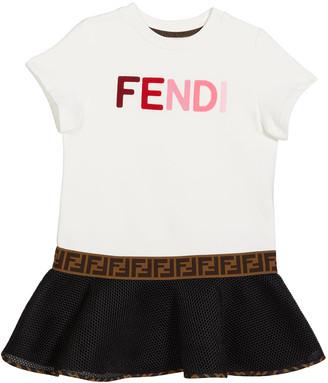Fendi Girl's Short-Sleeve Multicolor Logo Dress, Size 4-6