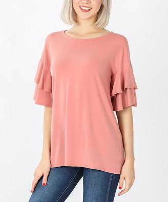 Ash Zenana Women's Tee Shirts  Rose Tiered Bell-Sleeve Top - Plus