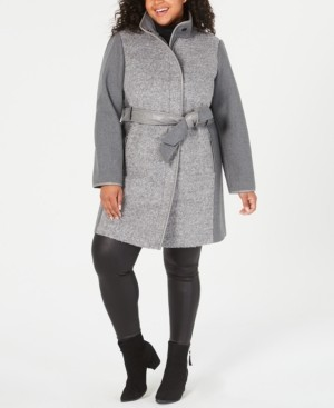 Vince Camuto Plus Size Faux-Leather-Belt Coat, Created for Macy's