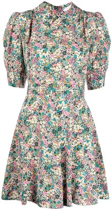 See by Chloe Floral-Print Mini Silk Dress