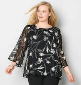 Avenue Floral Sheer Bell Sleeve Blouse
