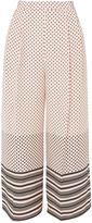 Topshop Spot & Stripe Crop Wide Leg Trousers