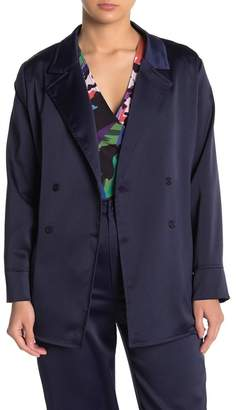 KENDALL + KYLIE Satin Notch Collar Tie Waist Blazer