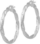 Italian Silver Satin & Polished Twisted Hoop Earrings Sterlin