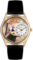 Whimsical Watches Kids' C0420009 Classic Gold Magic Black Leather And Goldtone Watch
