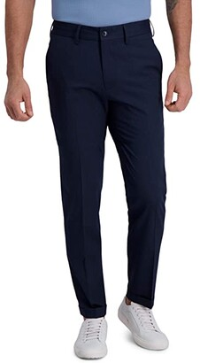 Kenneth Cole Reaction Heather Stripe Drawstring Slim Fit Flat Front Flex Waistband Dress Pants (Indigo) Men's Dress Pants