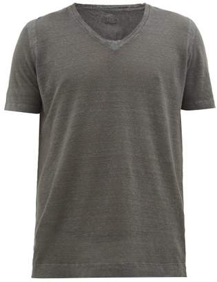 120% Lino V-neck Linen T-shirt - Mens - Charcoal