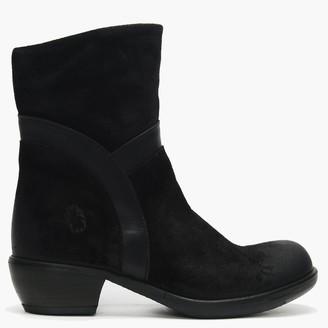 Fly London Mobu Black Suede Long Line Ankle Boots