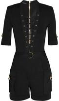 Balmain Lace-up Stretch-knit Playsuit - Black