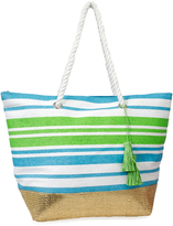 Magid Turquoise & Green Stripe Gold-Accent Tote