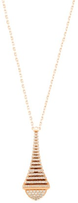 Cleo By Marli Rev 18K Rose Gold & Diamond Pendant Long Necklace