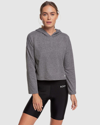 Roxy Womens Behind The Sun Long Sleeve Hooded Cropped Sports Top